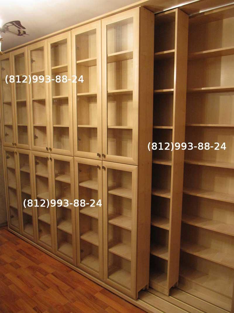 Раздвижная библиотека. книжные шкафы. шкаф для книг на заказ.